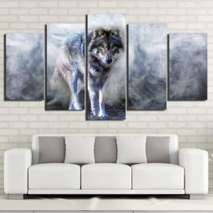 5 Piece Gray Smokey Forest Wolf Canvas Wall Art