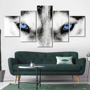 5 Piece Blue White Arctic Wolf Eyes Canvas Wall Art