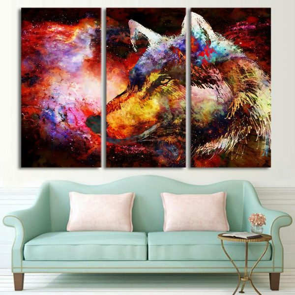 3 Piece Colorful Cosmic Space Wolf Canvas Wall Art