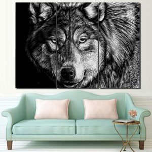 3 Piece Black & White Painted Wolf Portrait Canvas Wall Art