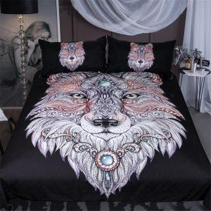 Black 3-Piece Tattoo Wolf Head Duvet Cover Bedding Set