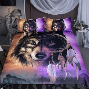 3-Piece Mystical Dreamcatcher Wolf Duvet Cover Set