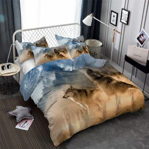 2/3-Piece Howling Wolf Breath Duvet Cover Bedding Set