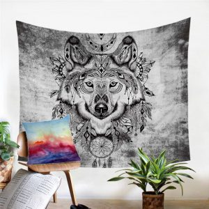 Black & White Tribal Wolf Wall Tapestry