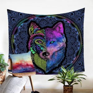 Split Wolf Mandala Pattern Wall Tapestry
