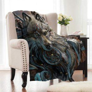 Wolf Warrior Fleece Throw Blanket