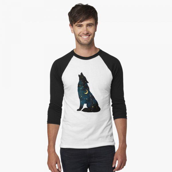 Stars and Moon Baseball ¾ Sleeve Wolf T-Shirt