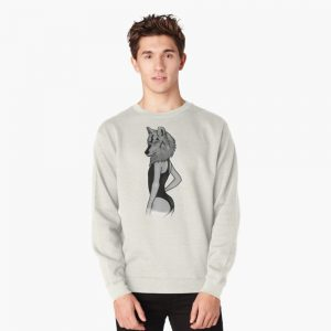 Woman with wolf head gift Pullover Sweatshirt