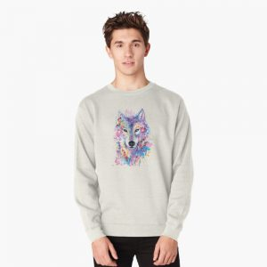 colourful wolf canvas Pullover Sweatshirt