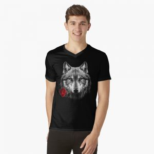 V-Neck Wolf Rose T-Shirt