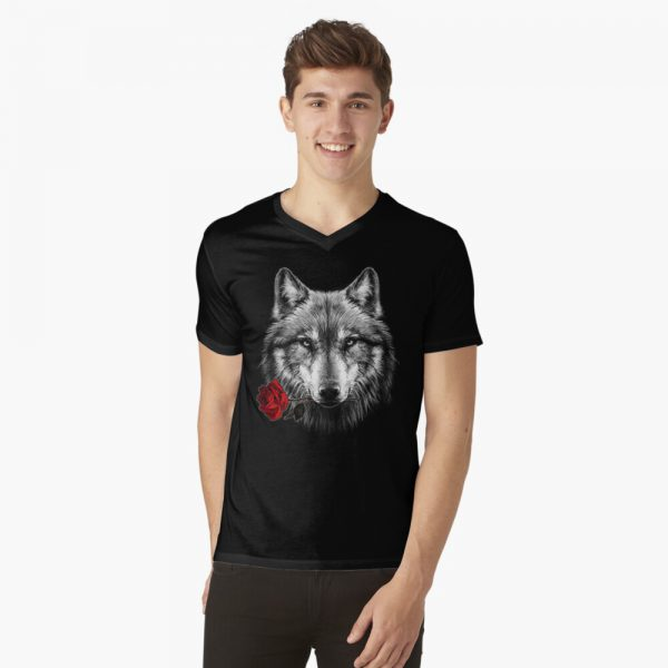 V-Neck Wolf Rose T-Shirt