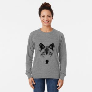 Wolf Face. Digital Wildlife Image. Lightweight Sweatshirt