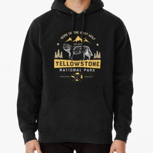 Yellowstone T shirt National Park Grey Wolf - Vintage Gifts Men Women Kids Youth Pullover Hoodie