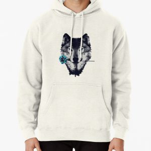 Wolf With a Rose Pullover Hoodie