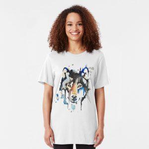 Watercolour Wolf Slim Fit T-Shirt