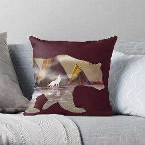 Bear Landscape and Howling Wolf Throw Pillow