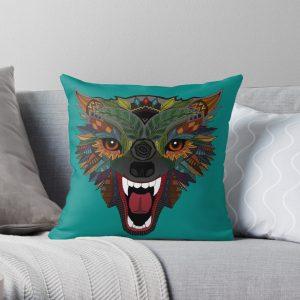 Wolf Fight Flight Teal Throw Pillow