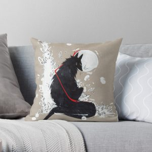 BLACK WOLF RIBBONS Throw Pillow