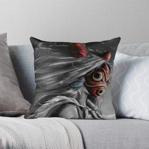 Mononoke Wolf Anime Tra Digital Painting Throw Pillow