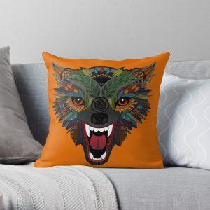 wolf fight flight orange Throw Pillow