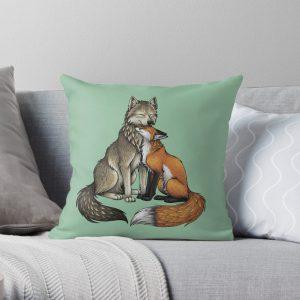 Wolf & Fox Throw Pillow