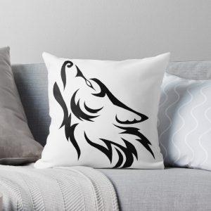 Tribal Wolf Throw Pillow