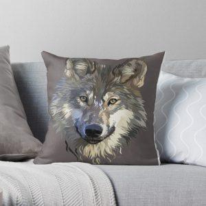 Woodland wolf illustration Throw Pillow