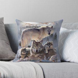 Wolf Family Throw Pillow