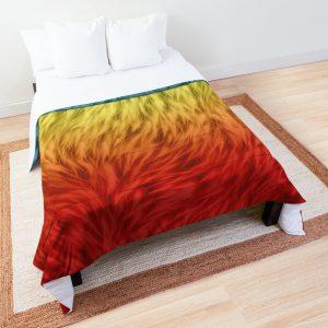 Blue Gold Red Wolf Fur Comforter