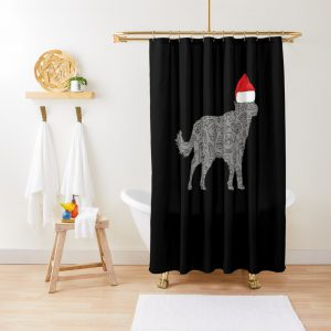 Santa Hat Wolf Christmas Gift for Animal Lover Wolf Shower Curtain