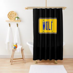 Custom Number Plate Wolf Name Shower Curtain