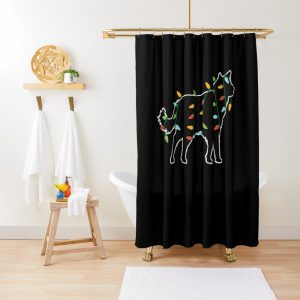 Wolf Christmas Lights Christmas Gift for Animal Lover Wolf Shower Curtain