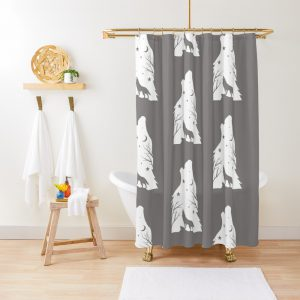 Wolf Silhouette Wolf Howling Shower Curtain