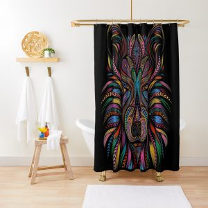 Colorful Wolf Ornament design Shower Curtain