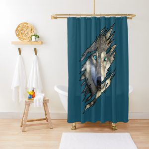 Wolf Face Ready to Howl At the Moon Gift Torn Shirt look Shower Curtain